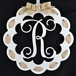 Letter R - Monogrammed Door Hanger   Mom Gift   White and Burlap Everyday Year Letter Door Hanger 20