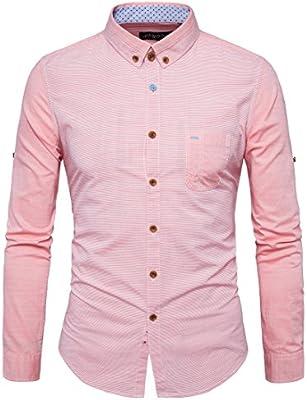 GK Hombre Camisa Moda Casual Camisa de Vestir Slim Fit Los hombres camisas de algodón casual derribado de manga larga de color rosa, 39: Amazon.es: Deportes y aire libre