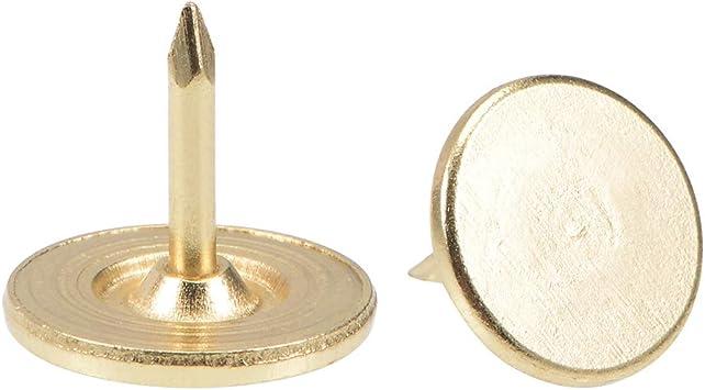sourcing map Tachuelas de Clavos de tapicer/ía 11mmx10mm Clavos de cabeza plana de muebles Tono Oro 25 uds