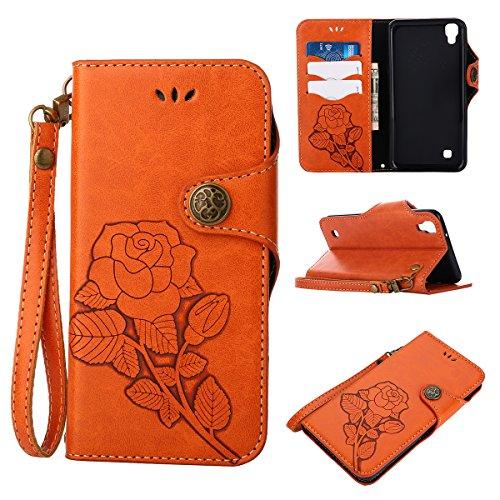 MEIRISHUN Leather Wallet Case Cover Carcasa Funda con Ranura de Tarjeta Cierre Magnético y función de soporte para LG X Power - Verde naranja