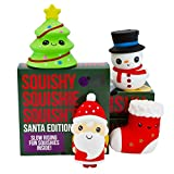 Slow Rising SANTA AND FRIENDS JUMBO SQUISHIES PACK in GIFT WORTHY BOX: Santa, Christmas Tree, Stocking & Snowman Kawaii Soft Squishy Toys & BONUS Stickers Come With the Squishys!