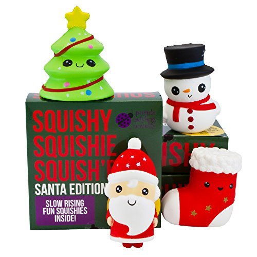 Snowman Soft Stocking - Slow Rising SANTA AND FRIENDS JUMBO SQUISHIES PACK in GIFT WORTHY BOX: Santa, Christmas Tree, Stocking & Snowman Kawaii Soft Squishy Toys & BONUS Stickers Come With the Squishys!