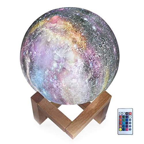- Hathdia Moon Light, 5.9 Inch 3D Printed Galaxy Moon Lamp 16 Colors Dimmable Rechargeable Night Lights for Family and Friends
