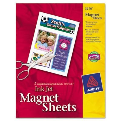 Avery 3270 Magnet Sheets, Printable, Inkjet, 8-1/2-Inch x11-Inch, 5/BX, Matte WE ()