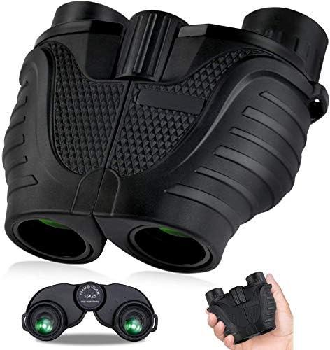 15×25 Compact Binoculars, HD Professional Waterproof Binoculars with Low Light Night Vision, Durable Clear BAK4 Prism FMC Lens Binoculars. Suitable for Outdoor Sports and Concert, Bird Watching.