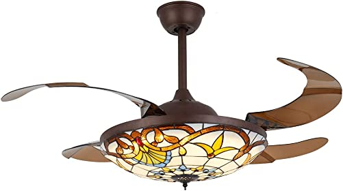 WUPYI 42 Inch Tiffany Style Invisible Ceiling Fan