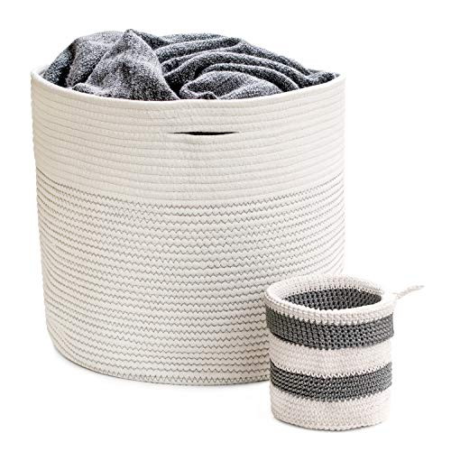 Blanket Holder Storage Basket - Large Round Cotton Rope Baskets for Living Room