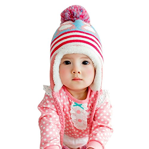 Toddler Kid Girl Boys Baby Earflap Winter Knit Cap Soft Crochet Hats 6-36 Month Red