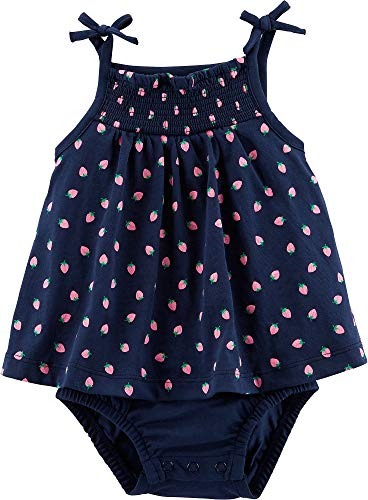 Carter's Baby Girls Strawberry Tank Sunsuit 6 Months Navy - Girls Infant Sunsuit Carters