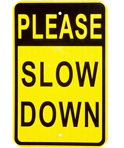 Please Slow Down Sign Heavy Duty Aluminum and Reflective Face Great for Neighborhood Streets and Yard Signage for Children Playing Increase Street Safety to Prevent Speeding Or Warn Drivers of Pets 2 Mm Race Screen