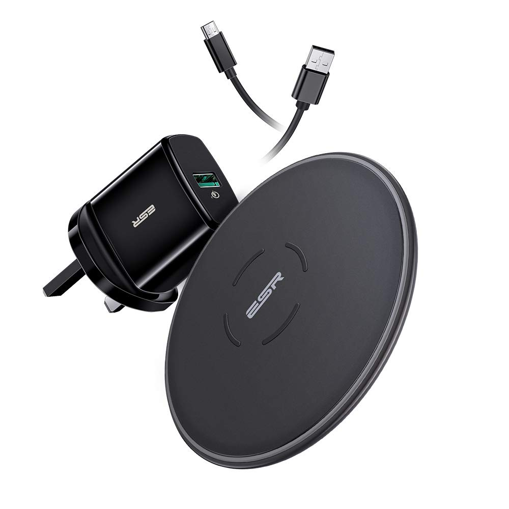 ESR Wireless Charging Set(UK Standard), 7.5W/10W, with QC 3.0 Adapter, Fast-Charging Compatible with iPhone 11/11 Pro/11 Pro Max/Xs/Xs Max/XR/X/8/8+, Galaxy Note 10/S10/S10+/S10e/S9/S9+, Other Devices