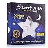 Glow In The Dark Stars Sticker 3D Glowing Reusable Ceiling Décor of 200Pcs Stars And 1Bonus Moon For Kids Bedding Room or Party