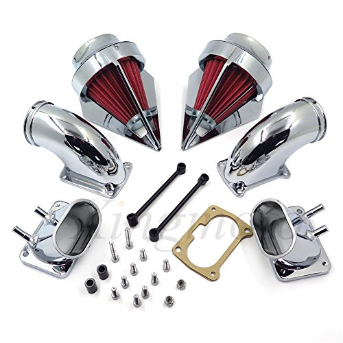 NBX- Chrome Dual Spike Air Cleaner Red Filter Kit Intake For Compatible with Suzuki Boulevard M109R ()