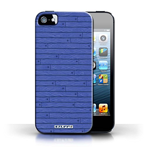 iCHOOSE Print Motif Coque de protection Case / Plastique manchon de telephone Coque pour Apple iPhone 5/5S / Collection Motif Bois / Bleu