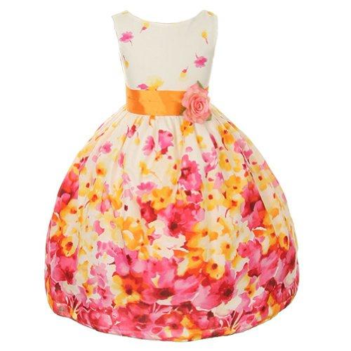 Fuchsia Floral Fancy Easter Dress for Toddler Girls