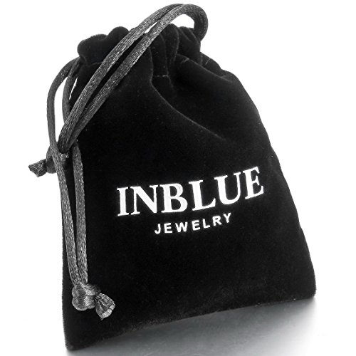 INBLUE Men's 4.3mm Wide Stainless Steel Necklace Cable O Chain Link Black Silver Tone 14~40 Inch