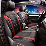 FH Group PU208REDBLACK102 Red/Black Leatherette Car Seat Cushions Airbag Compatible