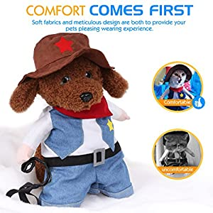 Pawaboo Pet Costume, Funny Pet Dog Cat Clothes West Cowboy Uniform Outfit Jumpsuit Clothes with Hat for Halloween Christmas Dressing Up, Large Size, Blue