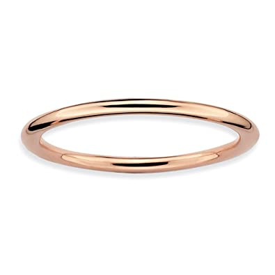 Amazoncom 15mm Thin Plain Band 18K Rose Gold Plated Sterling