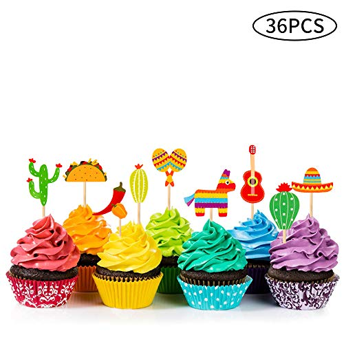 36 Pcs Fiesta Cupcake Topper Mexican Theme Cake Decoration for Mexican Themed Cactus Donkey Taco Pepper Sombrero Mustache Party Decorations]()
