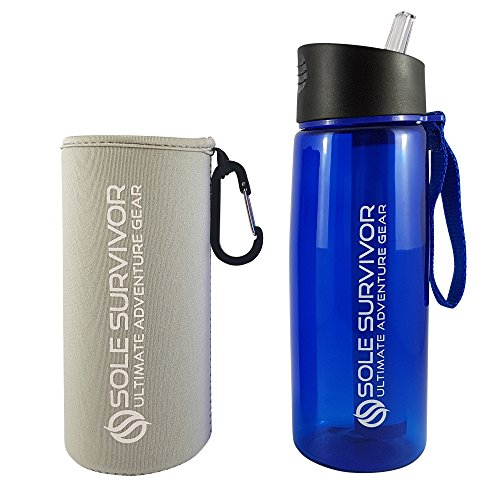 Best Portable Water Filter (Sole Water Bottle for Camping, Travelling, Sports Adventurer with insulated bottle sleeve. Purified water with 2 stage carbon filter removing 99.999% of Waterborne Bacteria)