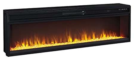 Ashley Furniture Signature Design – Wide Fireplace Insert – TV Stand Sold Separately – LED Fire Display – Temperature Control – Black