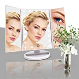 Lighted Makeup Mirror, Tri-fold Vanity Mirror with 3X/2X/1X Magnification,21 Natural LED Nights and Touch Screen, Batteries and USB Power Supply Adjustable Tabletop Cosmetic Mirror (White)