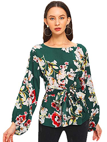 Romwe Women's Floral Print Long Sleeve Self tie Waist Knot Blouse Top Green XS ()