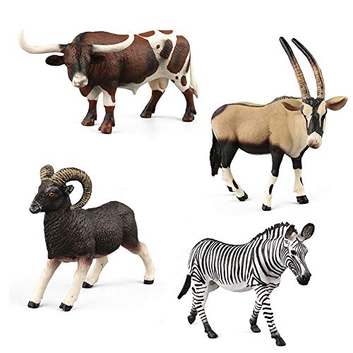 Warmtree Simulated Wild Animals Model Realistic Zebra Bull Antelope Mountain Sheep Plastic Animals Figurines for Kids' Collection Science Educational Toy, Set of 4