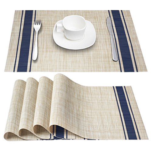 DACHUI Placemats, Heat-Resistant Placemats Stain Resistant Anti-Skid Washable PVC Table Mats Woven Vinyl Placemats, Set of 4 (Blue)