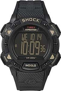 Timex Full Pusher Shock CAT T49896 - Reloj digital de cuarzo para hombre, correa de resina color negro (cronómetro, registro de vueltas, alarma, luz)