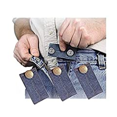 3 Jean Waist Extenders. Add either 1/2 or 2 inches to ones waist. Nickel Finish Metal Button, All Blue in Color. 2 Adjustable lengths 1/2 inch or 2 inches.