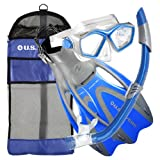 U.S. Divers Adult Icon Mask/Seabreeze Snorkel/Proflex Open Heel Fins/ Gearbag