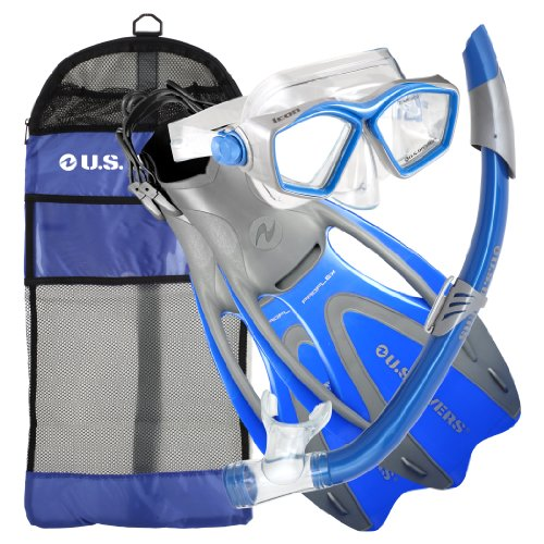 U.S. Divers Adult Icon Mask/Seabreeze Snorkel/Proflex Open Heel Fins/Gearbag. ()