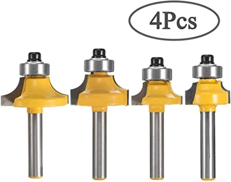 1//4-Inch Shank New 4pcs//set Round Over Steel 1//8-Inch Radius Router Bit