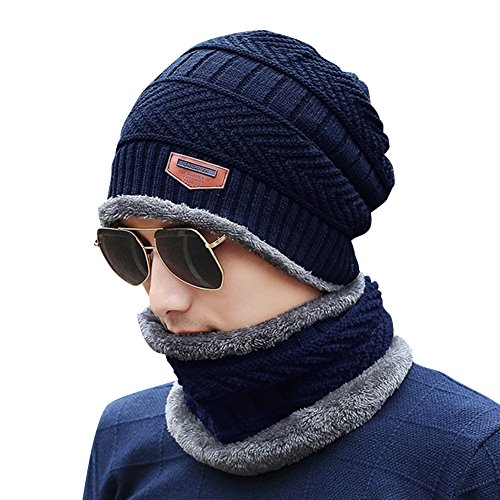 Invierno Cozy Gorra esquí Cálido Sombrero Hombres Felpa Navy Navy Slouchy punto punto de Gris con de Cálido de Hat tqpExw