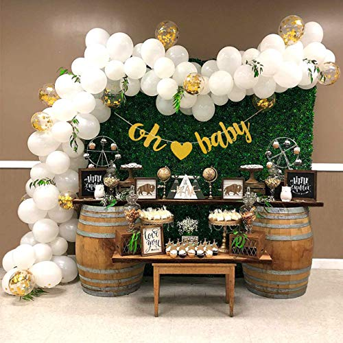 (Baby Shower Balloon Garland Arch Kit 16Ft Long Gender Neutral White Gold Balloons Oh Baby Banner Decorations for Party Centerpiece Backdrop)