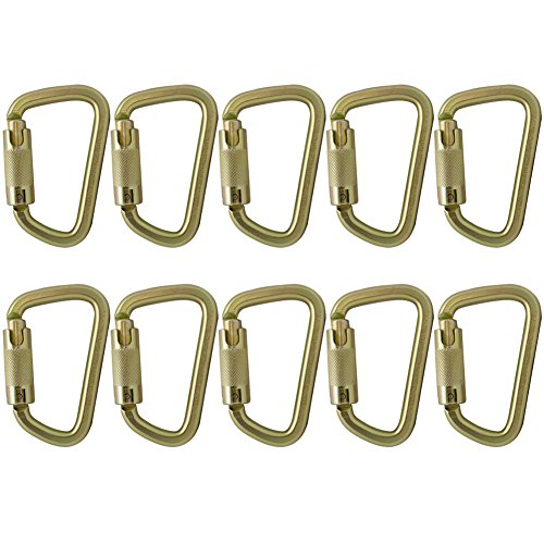 Fusion Climb Tacoma Steel Triple Lock with Key Nose Modified D-shaped High Strength Carabiner 10-Pack by Fusion Climb