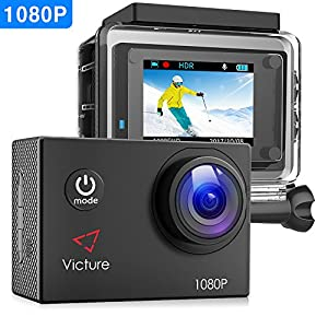 【Upgraded】Victure Action Camera Full HD 12MP 30m Underwater Waterproof Camera 170° Wide-angle Sports Cam with HDR Technology and 26 Mounting Accessories 1080P
