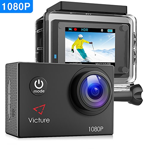 【Upgraded】Victure Action Camera 1080P Full HD 12MP 30m Underwater Diving Camera 2 Inch LCD Screen 170° Wide-angle Sports Cam with 26 Mounting Accessories
