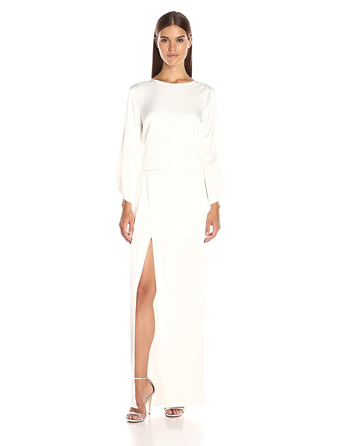HALSTON HERITAGE Women's Longsleeve Boatneck Gown with High Slit Winter White 6 [並行輸入品] B075CCYMQC