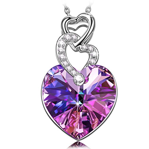 Kate Lynn Necklaces for Women Jewelry Gift Women's Purple Heart Crystals from Swarovski Pendant Necklace for Valentine for Anniversary Christmas Her Birthday Gifts for Daughter Girl Friend for -