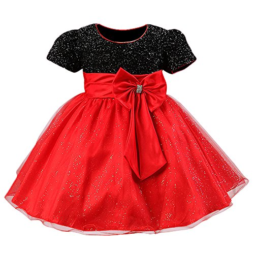 Toddlers Bow Sparkle Elegant Brilliant Tulle Lace Bridesmaid Wedding Dress Christmas Costumes 2-8 Years (Tag. 4(Recommended Age 3-4Y), BlackRed)