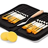Artify 2018 New 15 Pcs Paint Brush Set Includes Pop-up Carrying Case with Free Palette Knife and Two Sponges for Acrylic, Oil, Watercolor and Gouache Painting