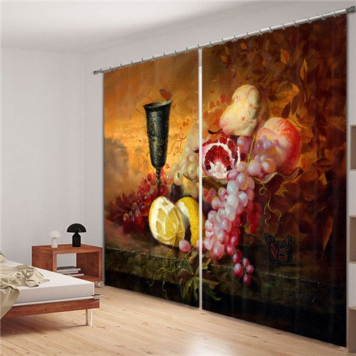 Sproud Delicious Fruit Luxury 3D Blackout Curtains For Living Room Bedding Room Drapes Cotinas Para Sala Halloween Decorative 260Dropx200Wide(Cm) 2 pieces