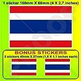 "THAILAND Flag, Thai SIAM Siamese 4"" (100mm) Vinyl Bumper Sticker, Decal x1 +2 BONUS"