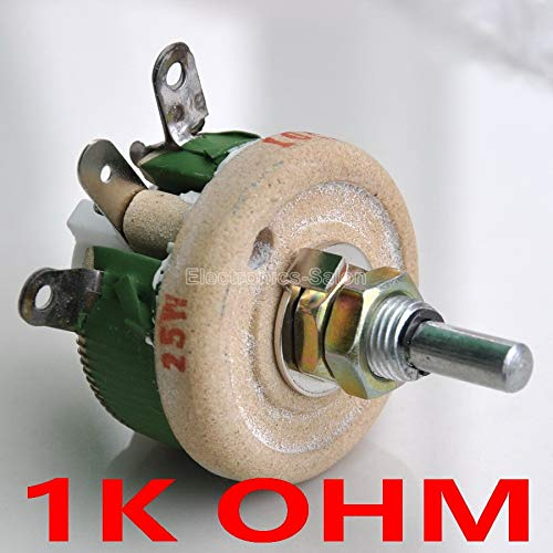 - Isali Electronic - 25W 1K OHM High Power Wirewound Potentiometer, Rheostat, Variable Resistor, 25 Watts.