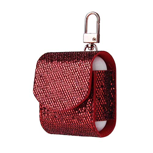 Price comparison product image MChoicefor AirPods Case Magnetic Closure Leather Cover with Anti-Lost Keychain Glitter (Wine)