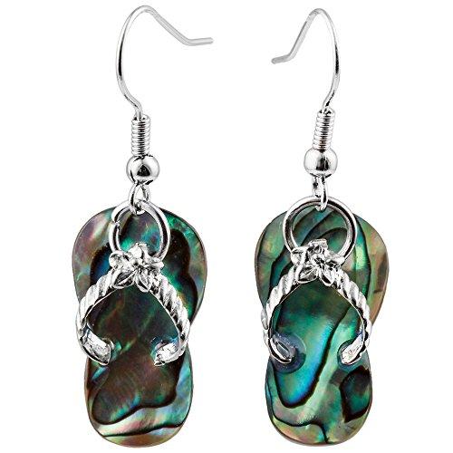 Liavy's Flip-Flop Sandals Fashionable Shell Earrings - Fish Hook - Abalone Paua Shell ()