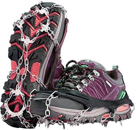 BACKTURE Tacos de zapatos con 19 dientes para nieve, crampones y pinzas de hielo antideslizantes para escalada, montañismo, senderismo, invierno al ...